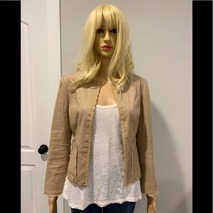 BCBG tan linen blend jacket with fringe trim